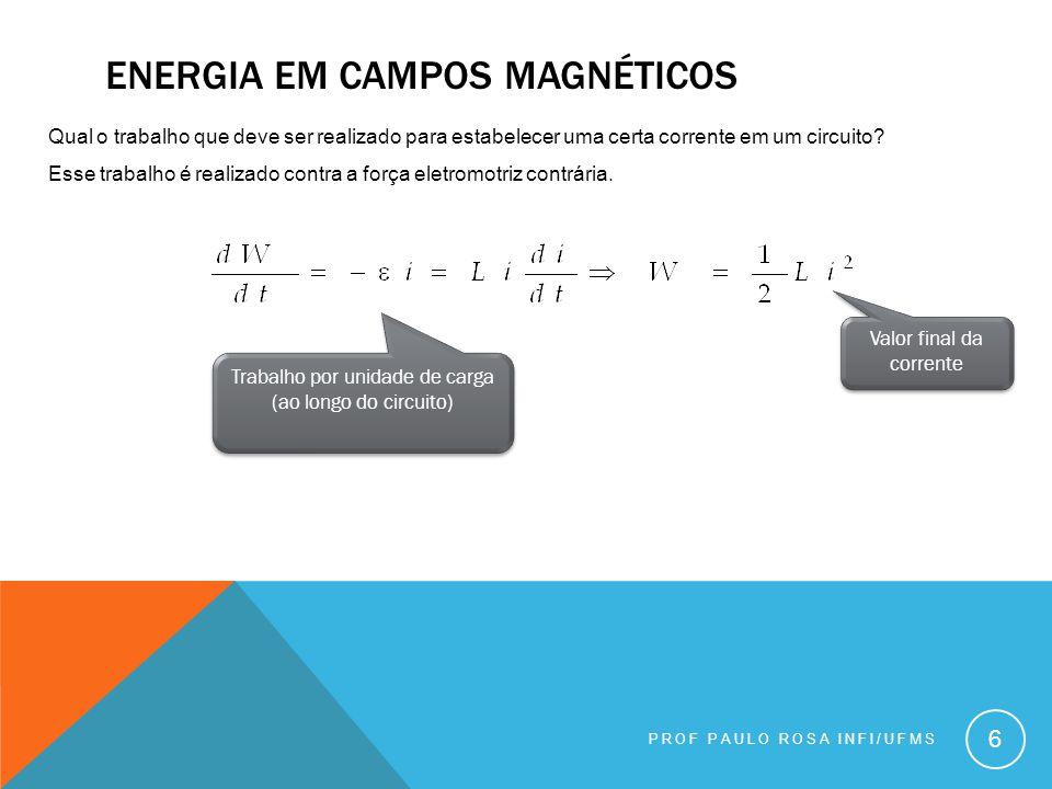 ENERGIA EM CAMPOS MAGNÉTICOS PROF PAULO ROSA INFI/UFMS 6 Qual o trabalho que deve ser realizado para estabelecer uma certa corrente em um circuito.