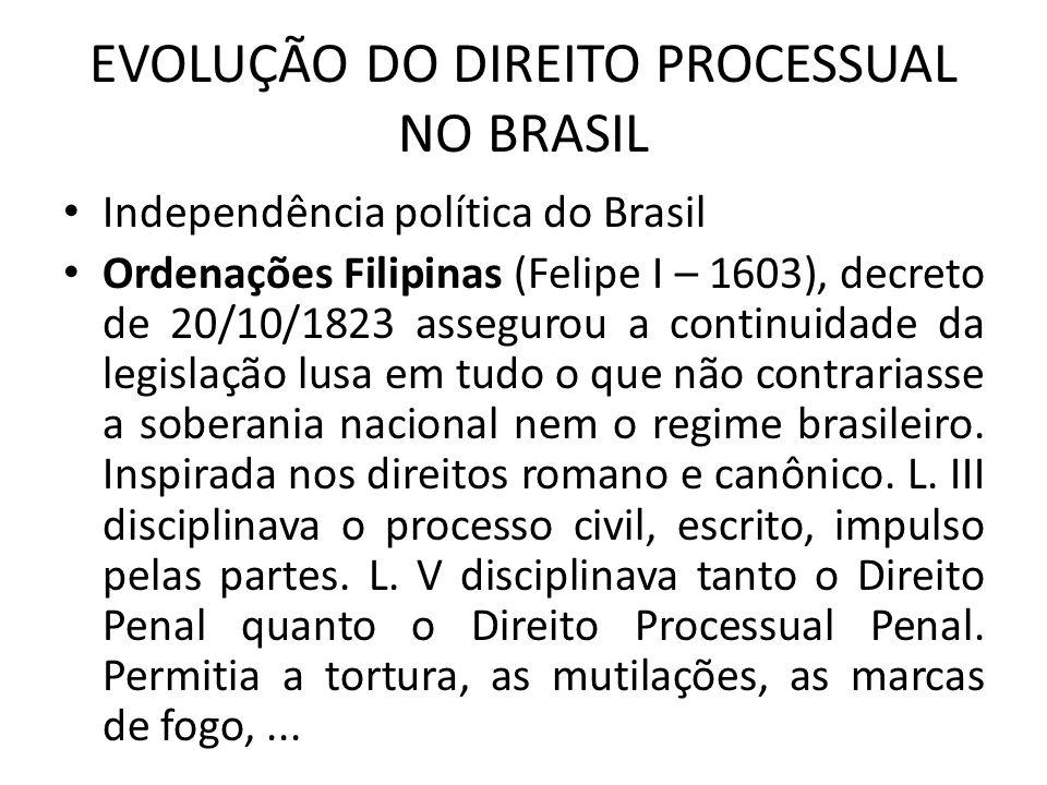 EVOLUÇÃO DO DIREITO PROCESSUAL NO BRASIL Independência política do Brasil Ordenações Filipinas (Felipe I – 1603), decreto de 20/10/1823 assegurou a continuidade da legislação lusa em tudo o que não contrariasse a soberania nacional nem o regime brasileiro.