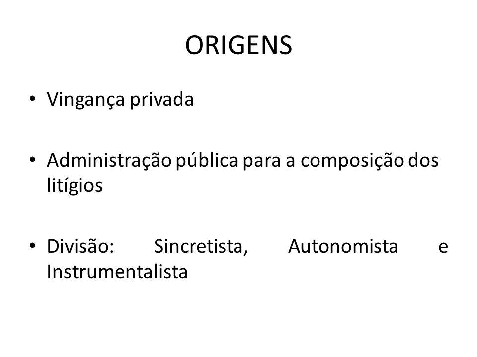 ORIGENS Vingança privada Administração pública para a composição dos litígios Divisão: Sincretista, Autonomista e Instrumentalista