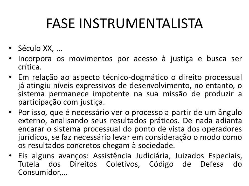FASE INSTRUMENTALISTA Século XX,... Incorpora os movimentos por acesso à justiça e busca ser crítica. Em relação ao aspecto técnico-dogmático o direit