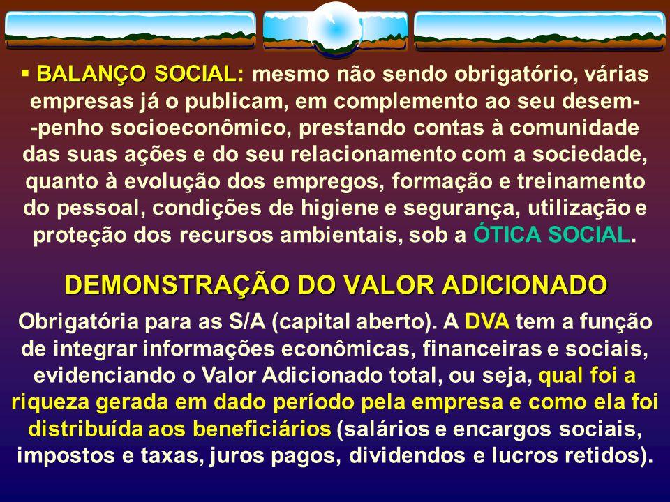 DEMONSTRAÇÃO DO VALOR ADICIONADO Obrigatória para as S/A (capital aberto).