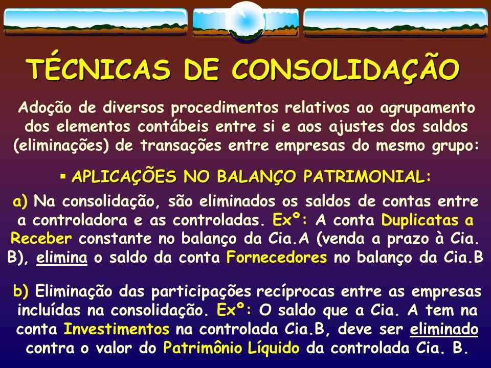 TÉCNICAS DE CONSOLIDAÇÃO Adoção de diversos procedimentos relativos ao agrupamento dos elementos contábeis entre si e aos ajustes dos saldos (eliminações) de transações entre empresas do mesmo grupo: APLICAÇÕES NO BALANÇO PATRIMONIAL  APLICAÇÕES NO BALANÇO PATRIMONIAL: a) Na consolidação, são eliminados os saldos de contas entre a controladora e as controladas.