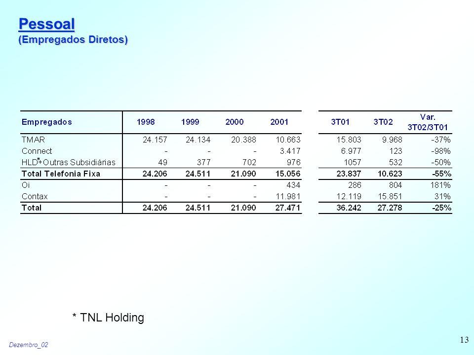 Dezembro_02 13 Pessoal (Empregados Diretos) * * TNL Holding