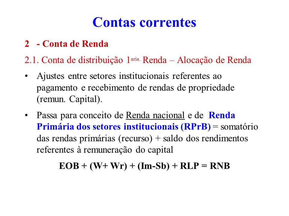 Contas correntes 2- Conta de Renda 2.1. Conta de distribuição 1 aria. Renda – Alocação de Renda Ajustes entre setores institucionais referentes ao pag