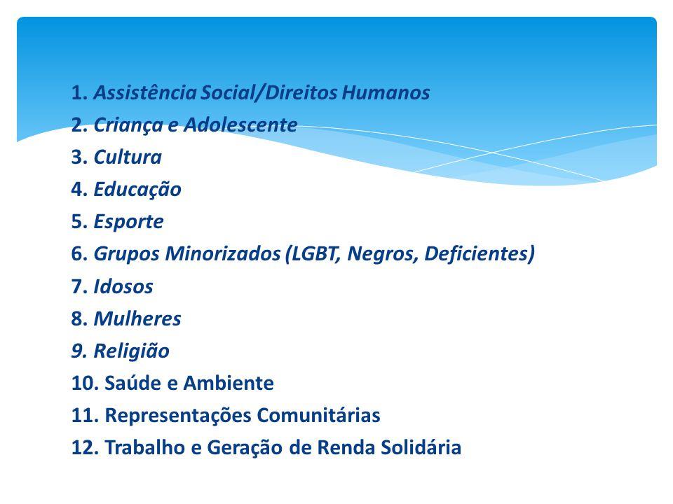 1. Assistência Social/Direitos Humanos 2. Criança e Adolescente 3. Cultura 4. Educação 5. Esporte 6. Grupos Minorizados (LGBT, Negros, Deficientes) 7.