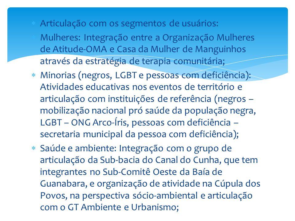  Articulação com os segmentos de usuários:  Mulheres: Integração entre a Organização Mulheres de Atitude-OMA e Casa da Mulher de Manguinhos através