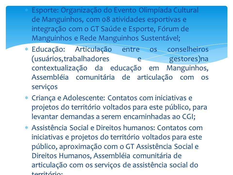  Esporte: Organização do Evento Olimpíada Cultural de Manguinhos, com 08 atividades esportivas e integração com o GT Saúde e Esporte, Fórum de Mangui