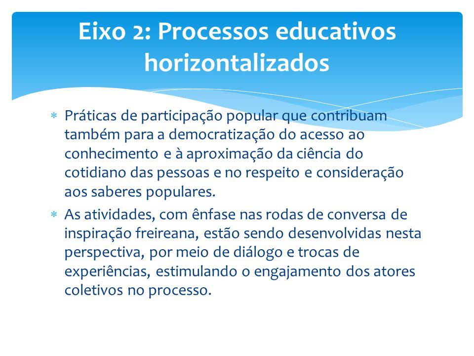  Práticas de participação popular que contribuam também para a democratização do acesso ao conhecimento e à aproximação da ciência do cotidiano das p