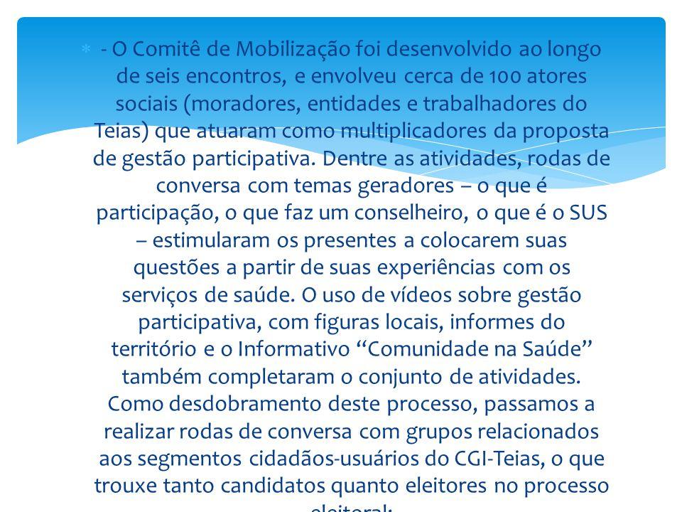  - O Comitê de Mobilização foi desenvolvido ao longo de seis encontros, e envolveu cerca de 100 atores sociais (moradores, entidades e trabalhadores