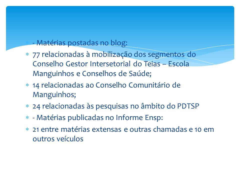  - Matérias postadas no blog:  77 relacionadas à mobilização dos segmentos do Conselho Gestor Intersetorial do Teias – Escola Manguinhos e Conselhos