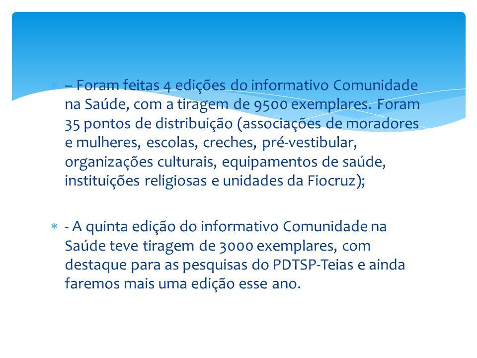  – Foram feitas 4 edições do informativo Comunidade na Saúde, com a tiragem de 9500 exemplares. Foram 35 pontos de distribuição (associações de morad