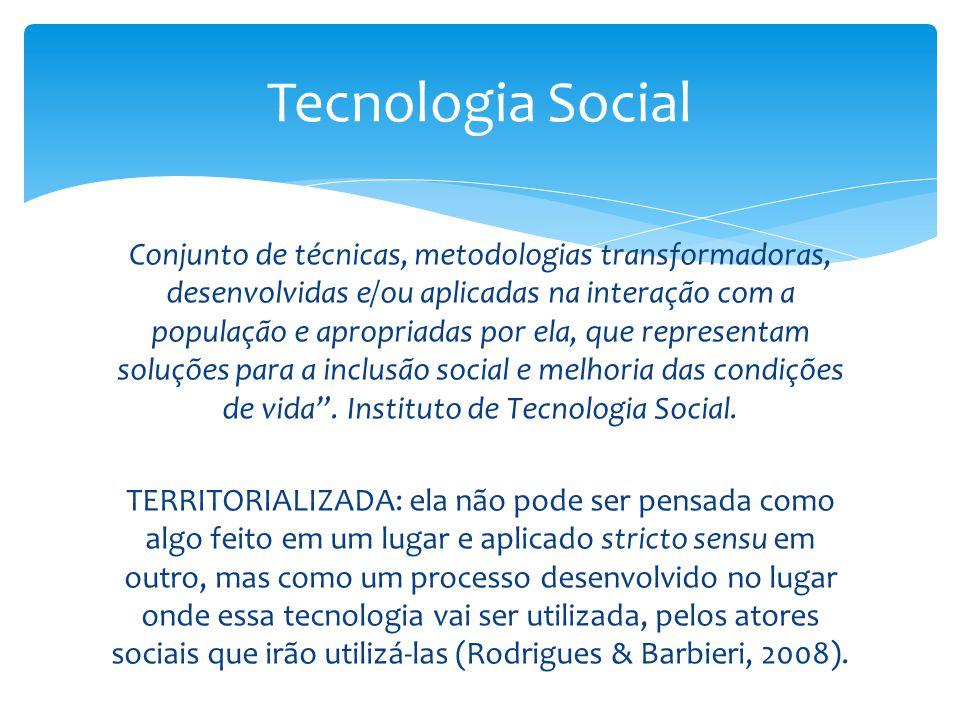 Conjunto de técnicas, metodologias transformadoras, desenvolvidas e/ou aplicadas na interação com a população e apropriadas por ela, que representam s