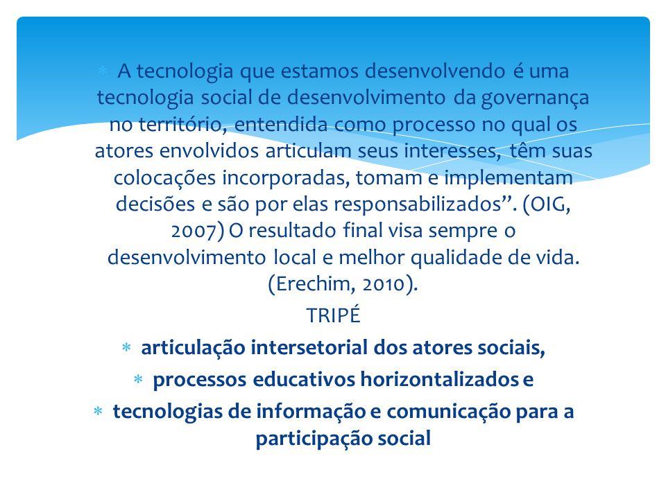  A tecnologia que estamos desenvolvendo é uma tecnologia social de desenvolvimento da governança no território, entendida como processo no qual os at