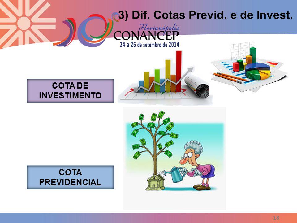 18 3) Dif. Cotas Previd. e de Invest. COTA DE INVESTIMENTO COTA PREVIDENCIAL