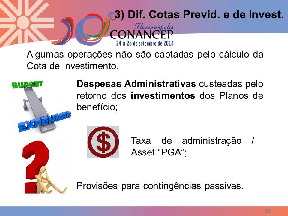 20 3) Dif. Cotas Previd. e de Invest. Algumas operações não são captadas pelo cálculo da Cota de investimento. Despesas Administrativas custeadas pelo