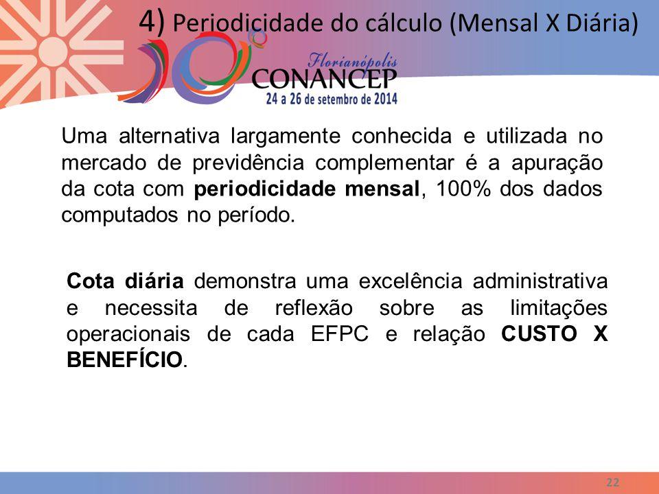 22 4) Periodicidade do cálculo (Mensal X Diária) Uma alternativa largamente conhecida e utilizada no mercado de previdência complementar é a apuração da cota com periodicidade mensal, 100% dos dados computados no período.