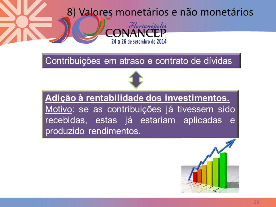 28 8) Valores monetários e não monetários Contribuições em atraso e contrato de dívidas Adição à rentabilidade dos investimentos. Motivo: se as contri