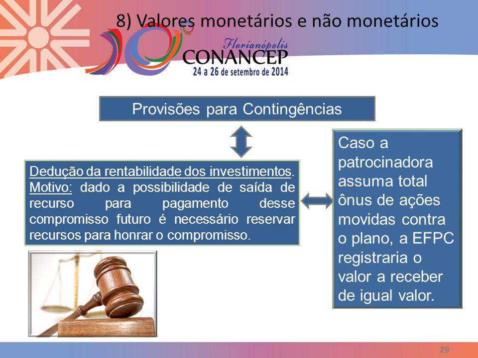 29 8) Valores monetários e não monetários Provisões para Contingências Dedução da rentabilidade dos investimentos. Motivo: dado a possibilidade de saí