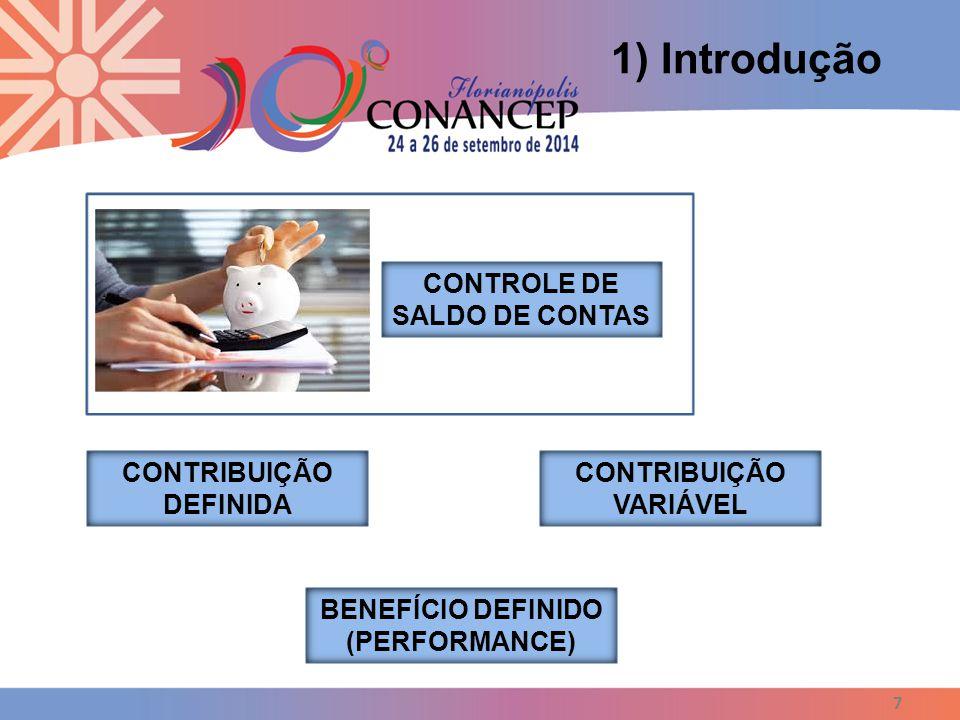 7 1) Introdução CONTROLE DE SALDO DE CONTAS CONTRIBUIÇÃO DEFINIDA CONTRIBUIÇÃO VARIÁVEL BENEFÍCIO DEFINIDO (PERFORMANCE)
