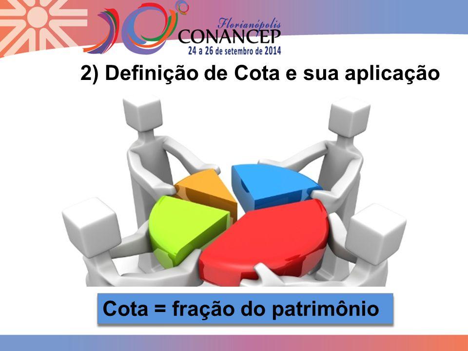 8 2) Definição de Cota e sua aplicação Cota = fração do patrimônio