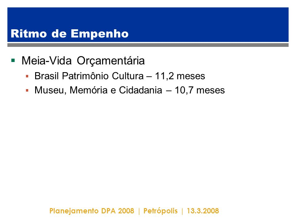Planejamento DPA 2008 | Petrópolis | 13.3.2008 Ritmo de Empenho  Meia-Vida Orçamentária  Brasil Patrimônio Cultura – 11,2 meses  Museu, Memória e Cidadania – 10,7 meses