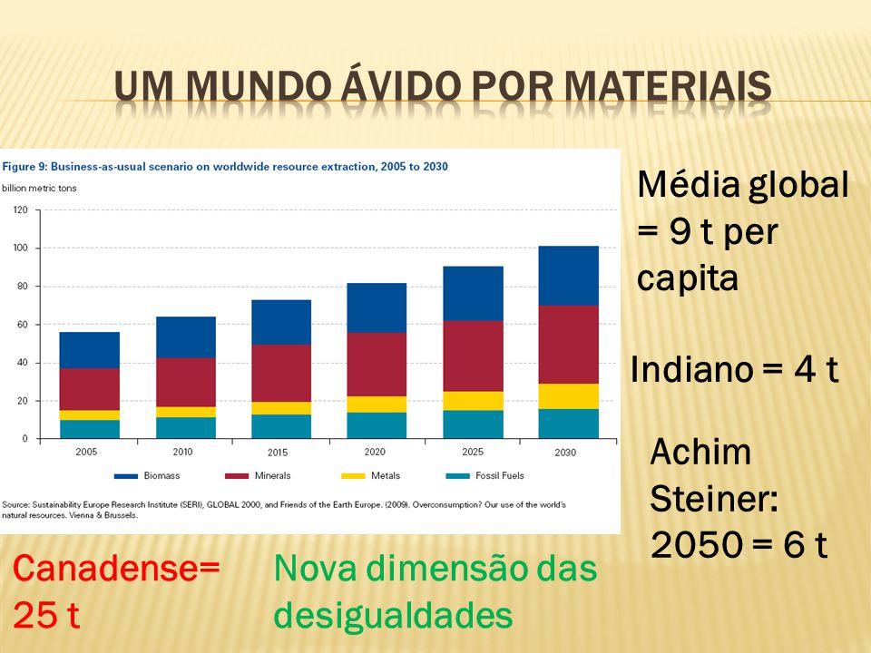 Média global = 9 t per capita Indiano = 4 t Canadense= 25 t Achim Steiner: 2050 = 6 t Nova dimensão das desigualdades