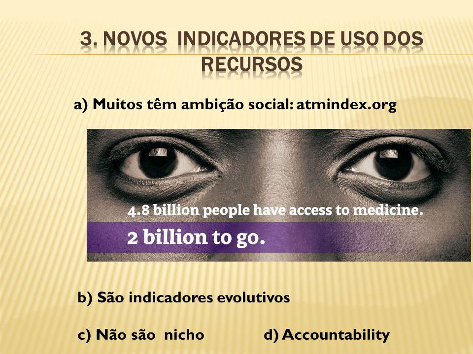 a) Muitos têm ambição social: atmindex.org b) São indicadores evolutivos c) Não são nichod) Accountability