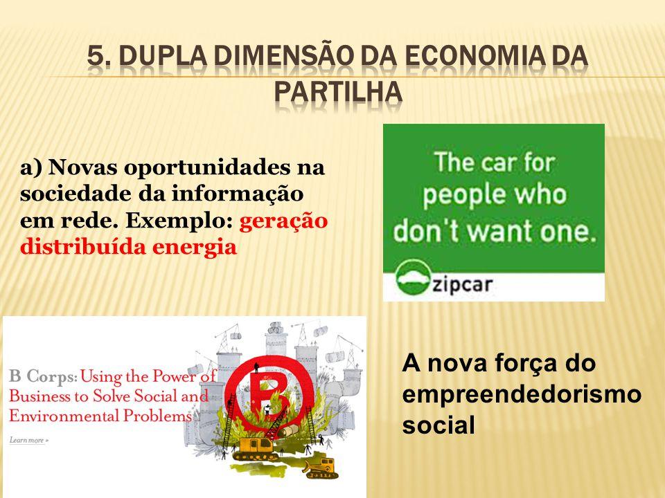 a) Novas oportunidades na sociedade da informação em rede. Exemplo: geração distribuída energia A nova força do empreendedorismo social