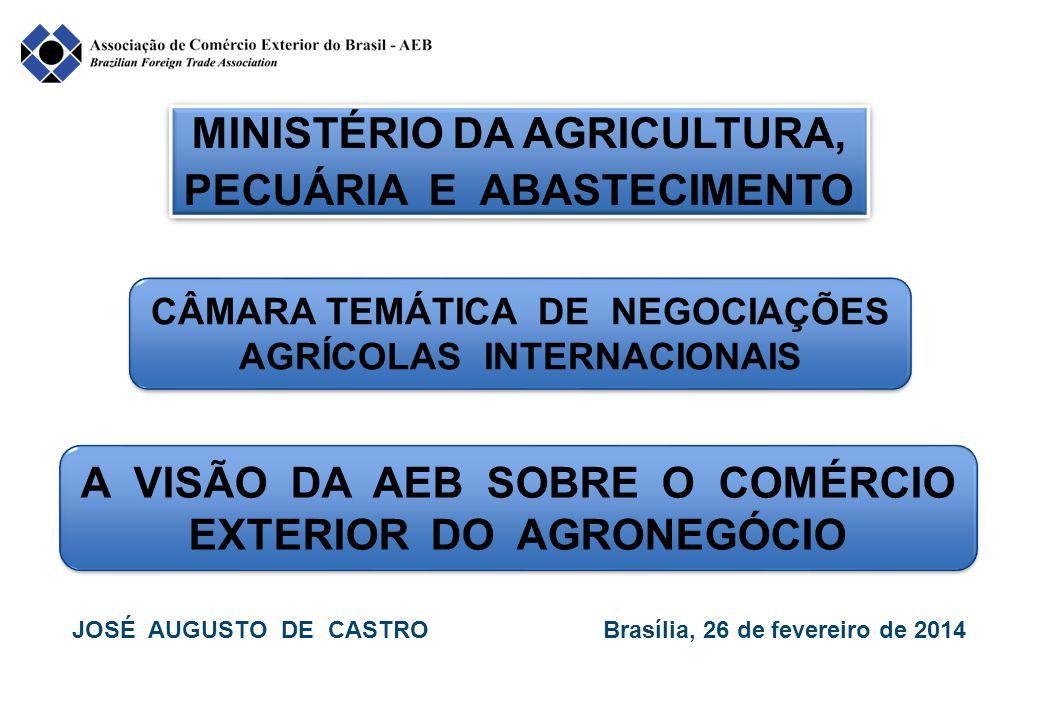 MINISTÉRIO DA AGRICULTURA, PECUÁRIA E ABASTECIMENTO CÂMARA TEMÁTICA DE NEGOCIAÇÕES AGRÍCOLAS INTERNACIONAIS A VISÃO DA AEB SOBRE O COMÉRCIO EXTERIOR DO AGRONEGÓCIO JOSÉ AUGUSTO DE CASTRO Brasília, 26 de fevereiro de 2014