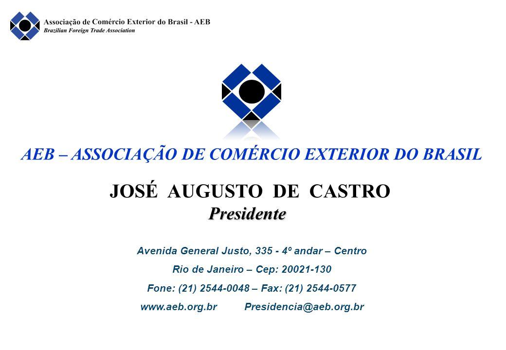JOSÉ AUGUSTO DE CASTROPresidente Avenida General Justo, 335 - 4º andar – Centro Rio de Janeiro – Cep: 20021-130 Fone: (21) 2544-0048 – Fax: (21) 2544-0577 www.aeb.org.br Presidencia@aeb.org.br AEB – ASSOCIAÇÃO DE COMÉRCIO EXTERIOR DO BRASIL