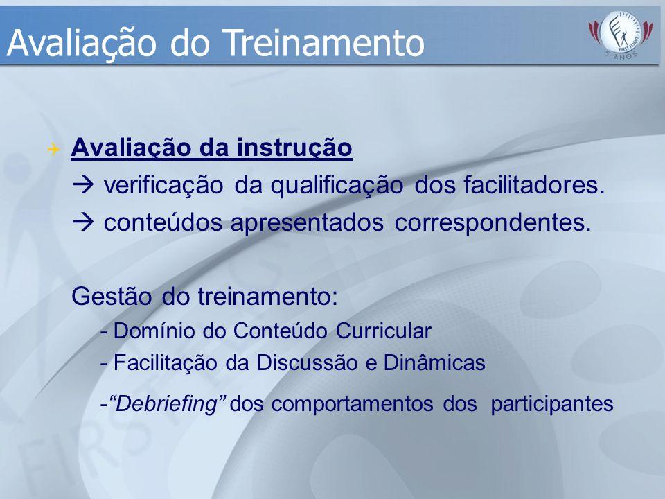  Avaliação da instrução  verificação da qualificação dos facilitadores.  conteúdos apresentados correspondentes. Gestão do treinamento: - Domínio d