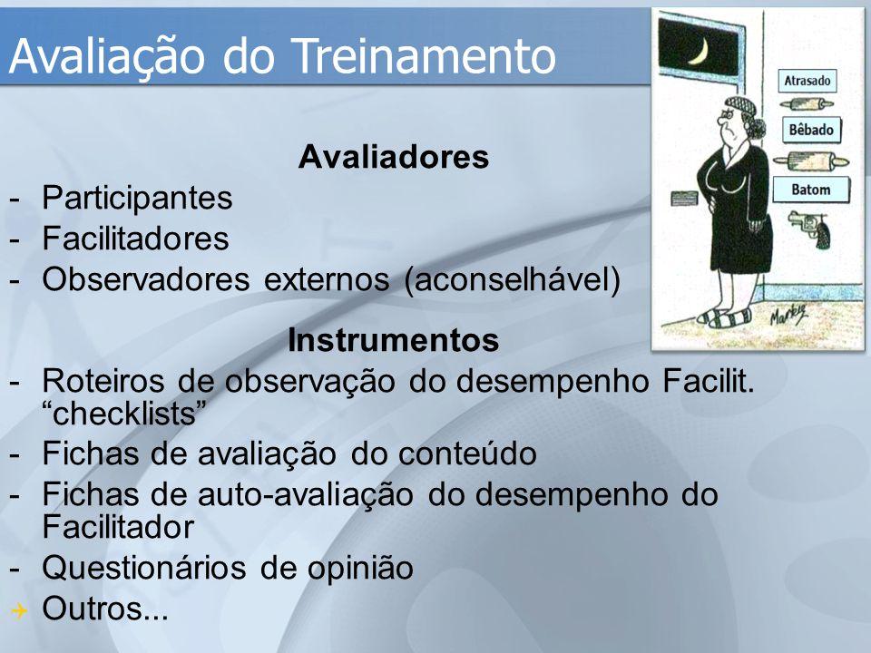 """Avaliadores -Participantes -Facilitadores -Observadores externos (aconselhável) Instrumentos -Roteiros de observação do desempenho Facilit. """"checklist"""
