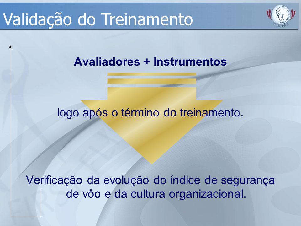 Avaliadores + Instrumentos logo após o término do treinamento. Verificação da evolução do índice de segurança de vôo e da cultura organizacional. Vali