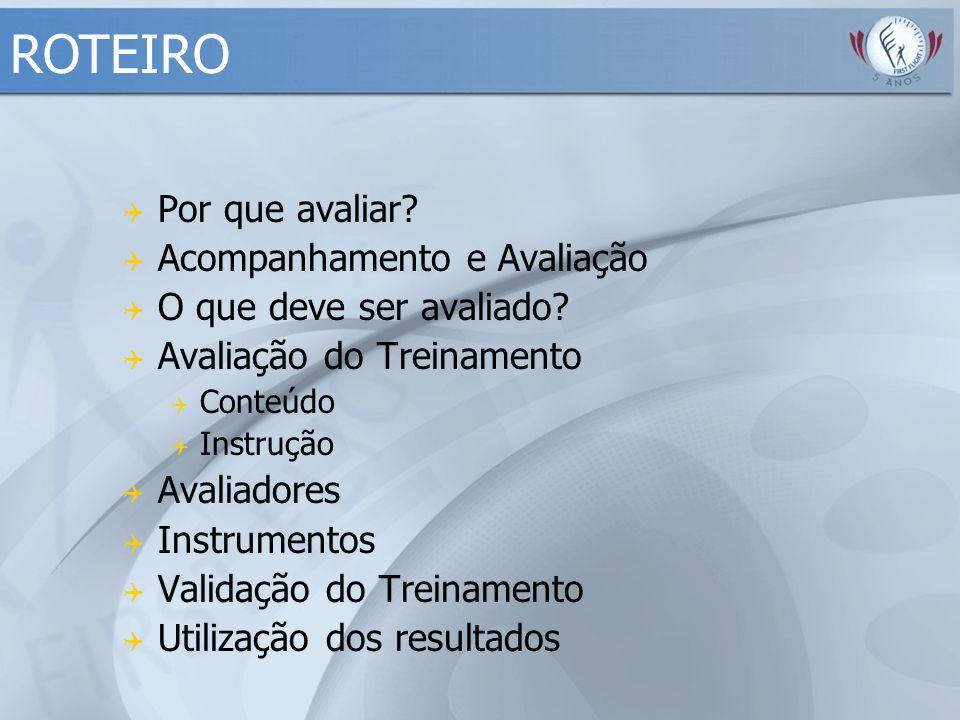 Avaliadores -Participantes -Facilitadores -Observadores externos (aconselhável) Instrumentos -Roteiros de observação do desempenho Facilit.