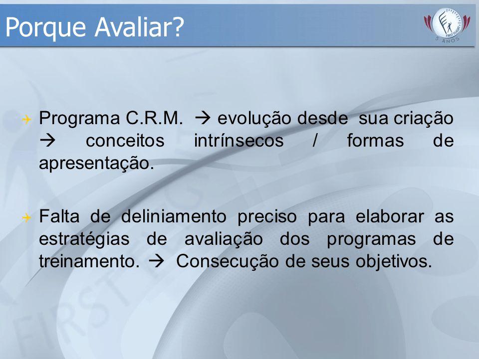  Programa C.R.M.  evolução desde sua criação  conceitos intrínsecos / formas de apresentação.  Falta de deliniamento preciso para elaborar as estr
