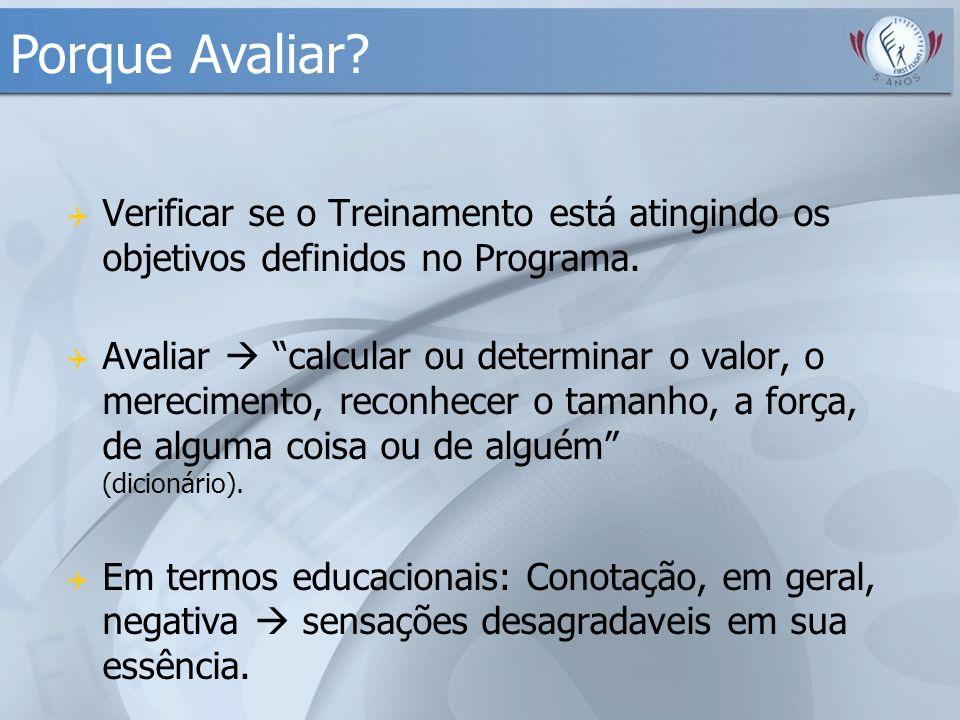 """ Verificar se o Treinamento está atingindo os objetivos definidos no Programa.  Avaliar  """"calcular ou determinar o valor, o merecimento, reconhecer"""