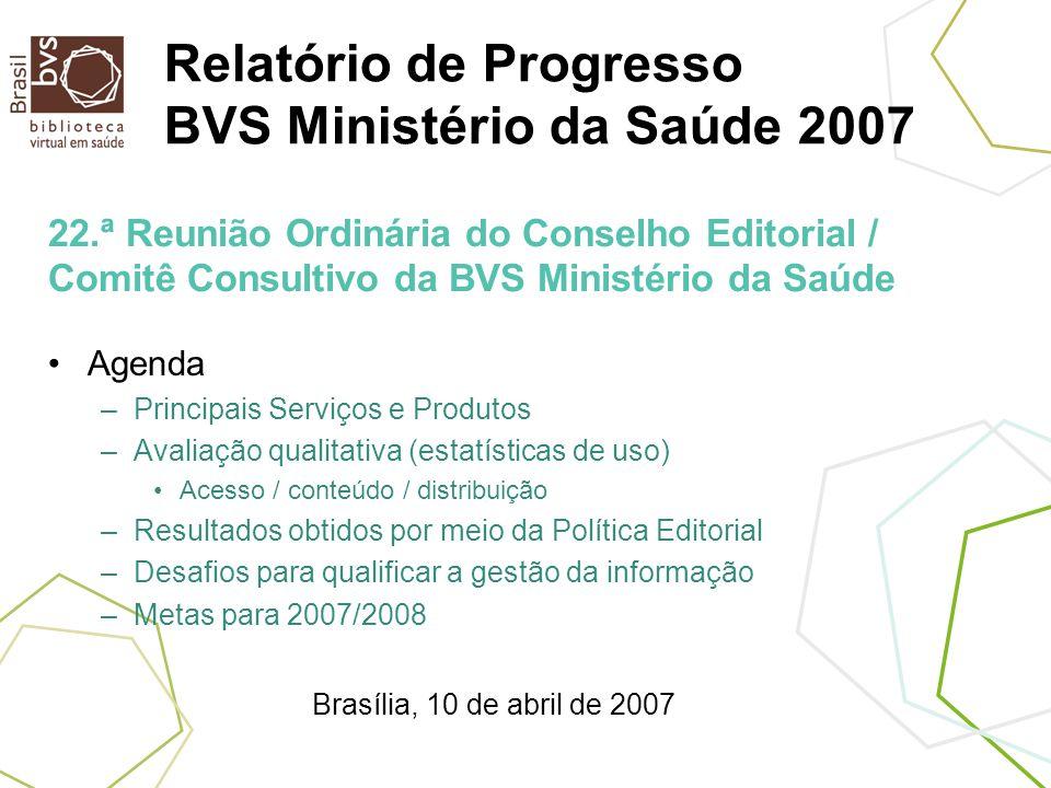 Relatório de Progresso BVS Ministério da Saúde 2007 Agenda –Principais Serviços e Produtos –Avaliação qualitativa (estatísticas de uso) Acesso / conte