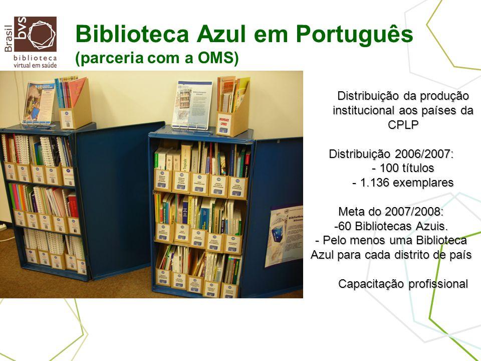 Distribuição da produção institucional aos países da CPLP Distribuição 2006/2007: - 100 títulos - 1.136 exemplares Meta do 2007/2008: -60 Bibliotecas Azuis.