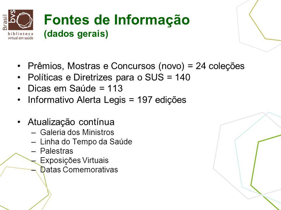 Fontes de Informação (dados gerais) Prêmios, Mostras e Concursos (novo) = 24 coleções Políticas e Diretrizes para o SUS = 140 Dicas em Saúde = 113 Inf