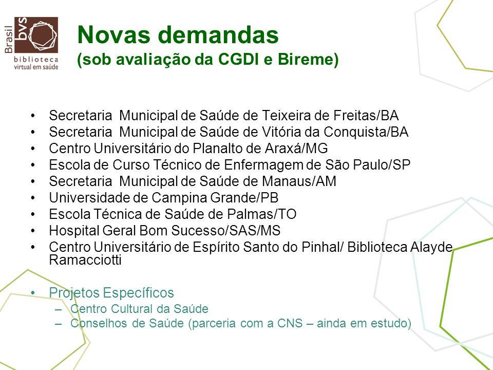 Novas demandas (sob avaliação da CGDI e Bireme) Secretaria Municipal de Saúde de Teixeira de Freitas/BA Secretaria Municipal de Saúde de Vitória da Co