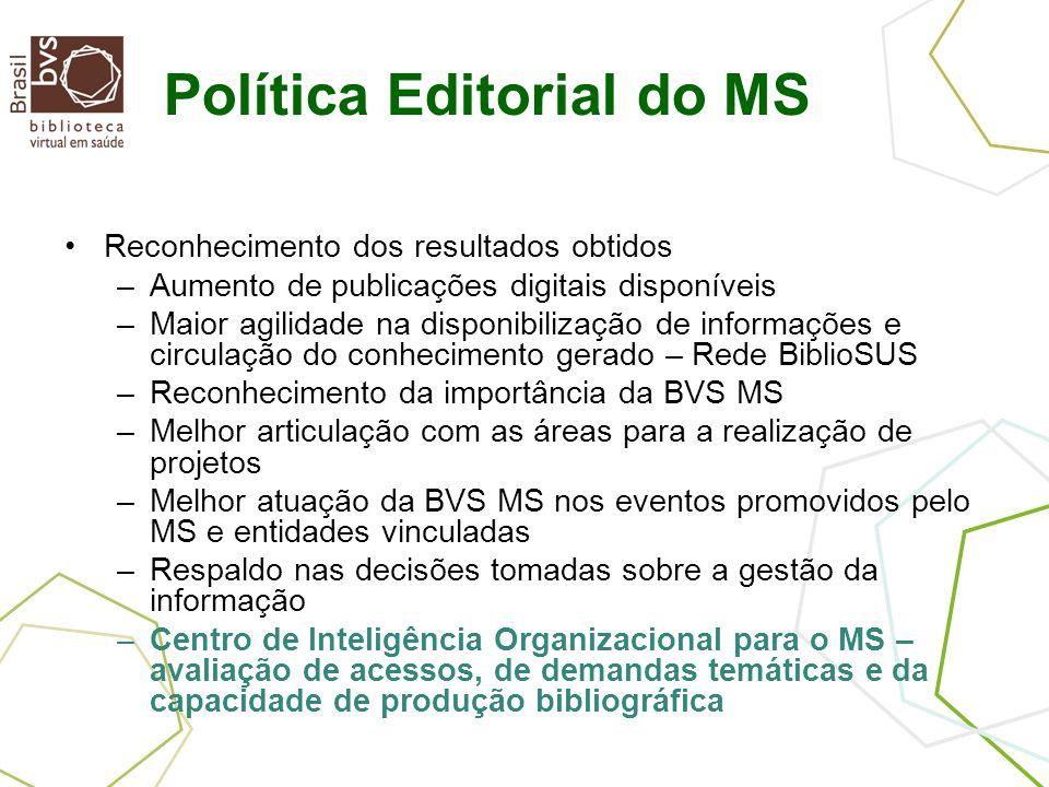 Política Editorial do MS Reconhecimento dos resultados obtidos –Aumento de publicações digitais disponíveis –Maior agilidade na disponibilização de in