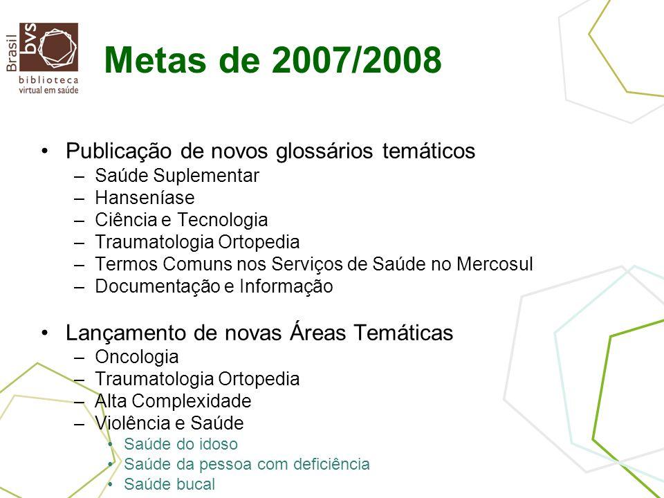 Metas de 2007/2008 Publicação de novos glossários temáticos –Saúde Suplementar –Hanseníase –Ciência e Tecnologia –Traumatologia Ortopedia –Termos Comu