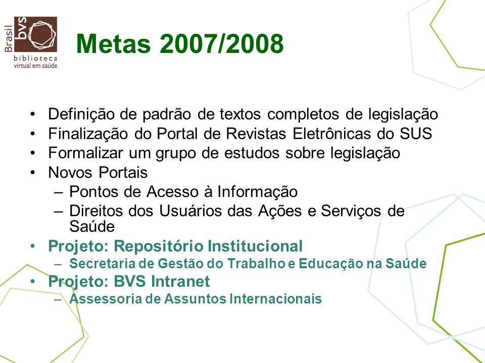 Metas 2007/2008 Definição de padrão de textos completos de legislação Finalização do Portal de Revistas Eletrônicas do SUS Formalizar um grupo de estu