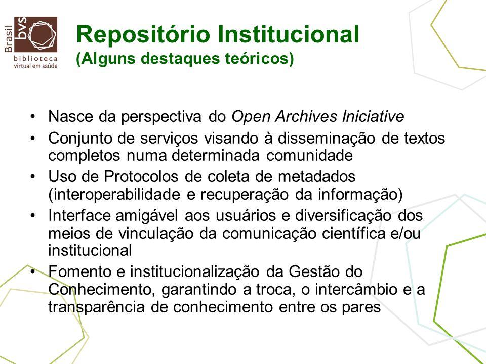 Repositório Institucional (Alguns destaques teóricos) Nasce da perspectiva do Open Archives Iniciative Conjunto de serviços visando à disseminação de