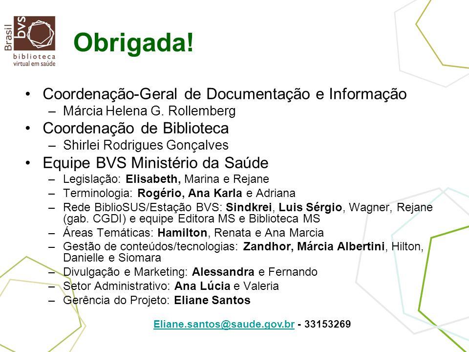 Obrigada! Coordenação-Geral de Documentação e Informação –Márcia Helena G. Rollemberg Coordenação de Biblioteca –Shirlei Rodrigues Gonçalves Equipe BV