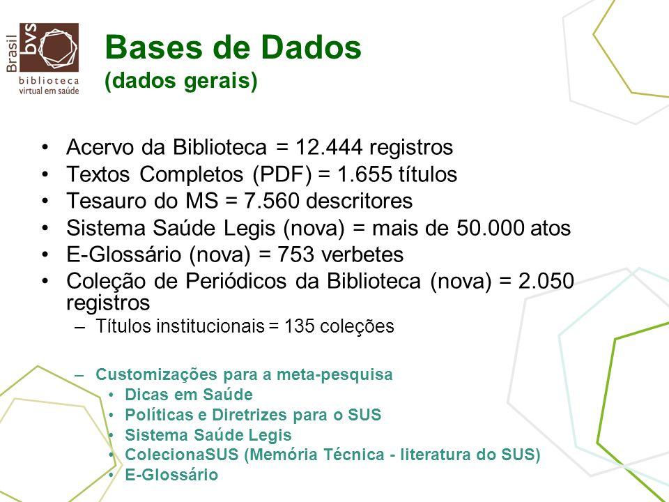Bases de Dados (dados gerais) Acervo da Biblioteca = 12.444 registros Textos Completos (PDF) = 1.655 títulos Tesauro do MS = 7.560 descritores Sistema Saúde Legis (nova) = mais de 50.000 atos E-Glossário (nova) = 753 verbetes Coleção de Periódicos da Biblioteca (nova) = 2.050 registros –Títulos institucionais = 135 coleções –Customizações para a meta-pesquisa Dicas em Saúde Políticas e Diretrizes para o SUS Sistema Saúde Legis ColecionaSUS (Memória Técnica - literatura do SUS) E-Glossário