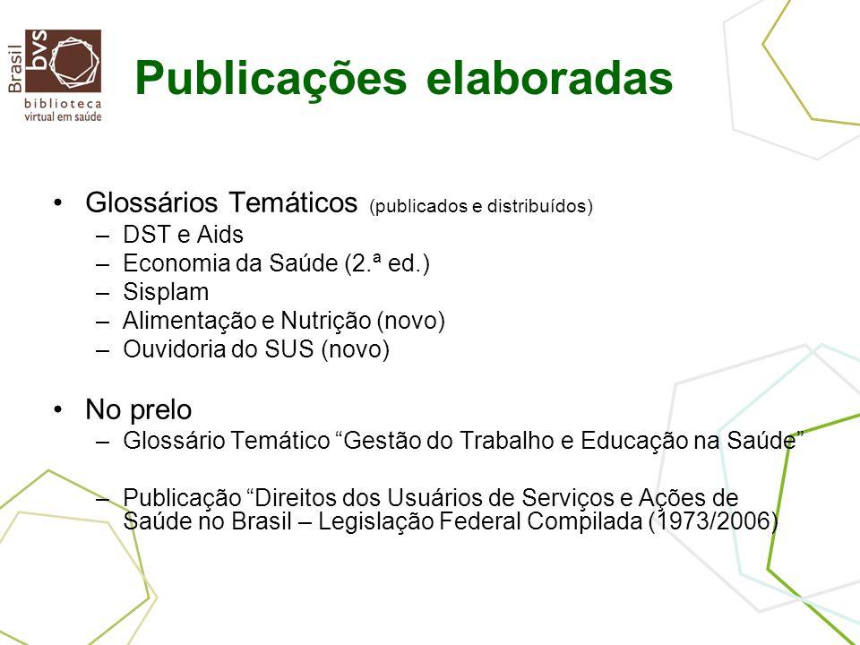 Publicações elaboradas Glossários Temáticos (publicados e distribuídos) –DST e Aids –Economia da Saúde (2.ª ed.) –Sisplam –Alimentação e Nutrição (novo) –Ouvidoria do SUS (novo) No prelo –Glossário Temático Gestão do Trabalho e Educação na Saúde –Publicação Direitos dos Usuários de Serviços e Ações de Saúde no Brasil – Legislação Federal Compilada (1973/2006)