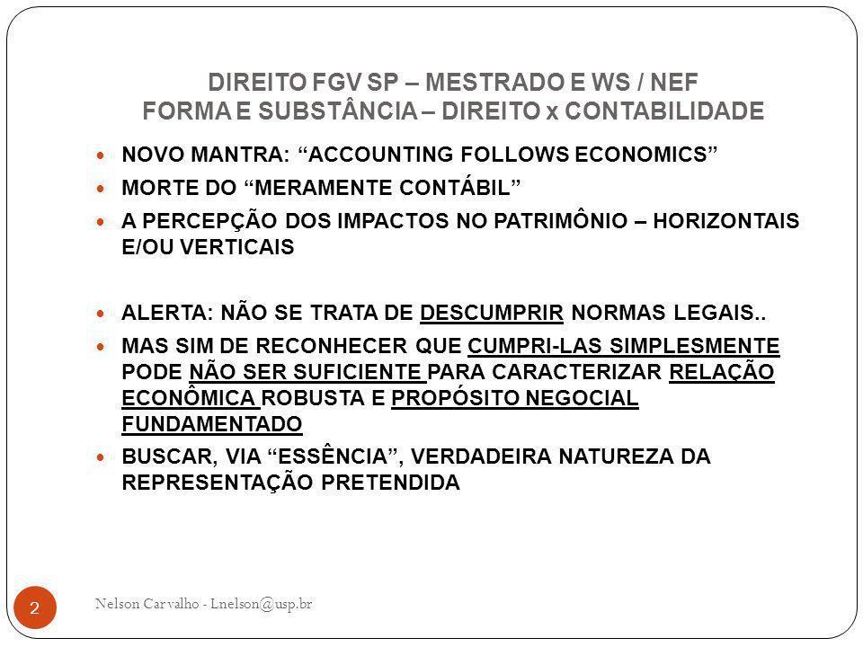 DIREITO FGV SP – MESTRADO E WS / NEF FORMA E SUBSTÂNCIA – DIREITO x CONTABILIDADE Nelson Carvalho - Lnelson@usp.br 2 NOVO MANTRA: ACCOUNTING FOLLOWS ECONOMICS MORTE DO MERAMENTE CONTÁBIL A PERCEPÇÃO DOS IMPACTOS NO PATRIMÔNIO – HORIZONTAIS E/OU VERTICAIS ALERTA: NÃO SE TRATA DE DESCUMPRIR NORMAS LEGAIS..