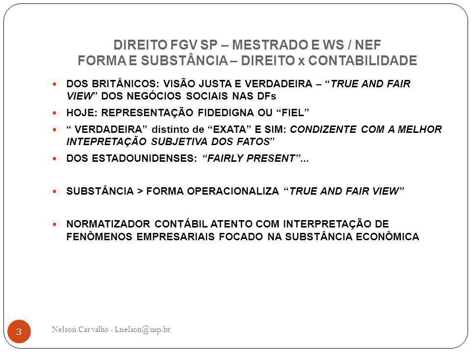 DIREITO FGV SP – MESTRADO E WS / NEF FORMA E SUBSTÂNCIA – DIREITO x CONTABILIDADE Nelson Carvalho - Lnelson@usp.br 3 DOS BRITÂNICOS: VISÃO JUSTA E VERDADEIRA – TRUE AND FAIR VIEW DOS NEGÓCIOS SOCIAIS NAS DFs HOJE: REPRESENTAÇÃO FIDEDIGNA OU FIEL VERDADEIRA distinto de EXATA E SIM: CONDIZENTE COM A MELHOR INTEPRETAÇÃO SUBJETIVA DOS FATOS DOS ESTADOUNIDENSES: FAIRLY PRESENT ...
