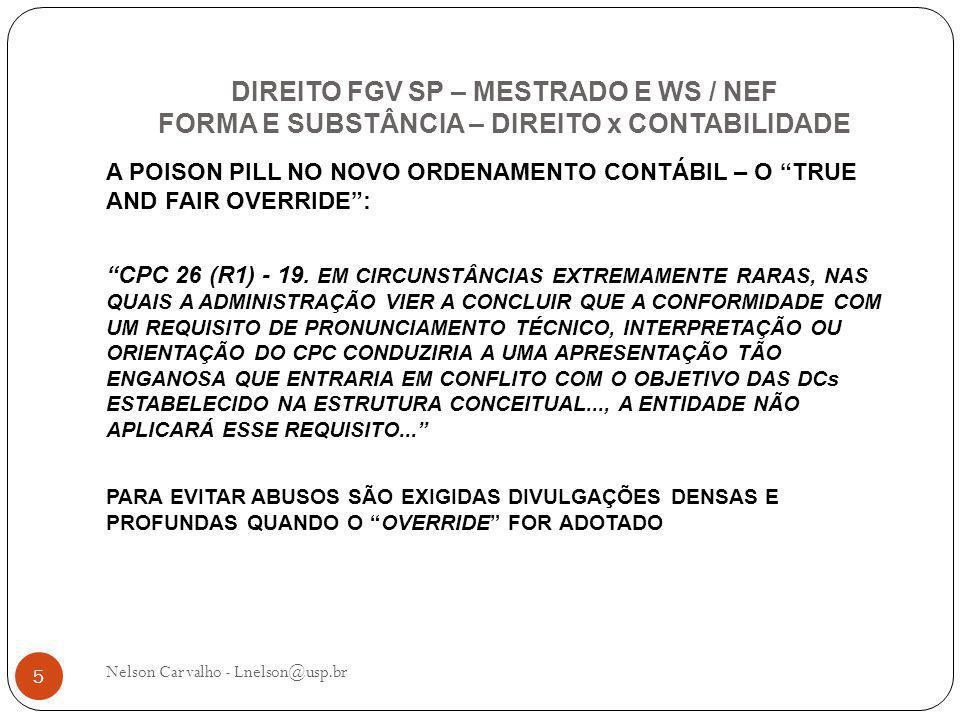 DIREITO FGV SP – MESTRADO E WS / NEF FORMA E SUBSTÂNCIA – DIREITO x CONTABILIDADE Nelson Carvalho - Lnelson@usp.br 5 A POISON PILL NO NOVO ORDENAMENTO CONTÁBIL – O TRUE AND FAIR OVERRIDE : CPC 26 (R1) - 19.